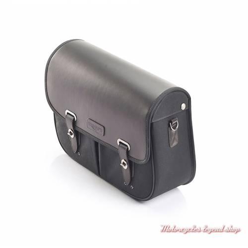 Sacoche latérale droite noire Triumph, coton ciré et cuir, pour Street Scrambler, A9518177