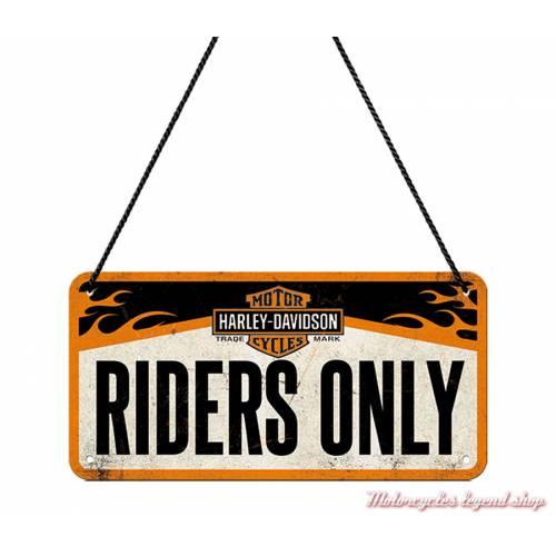Plaque métal Riders Only Harley-Davidson, 10 x 20 cm, 28003