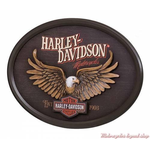Panneau Eagle Harley-Davidson, ovale, teinté bois, relief, déco vintage, HDL-15317