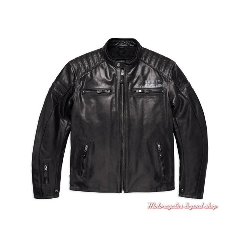 Blouson cuir One Skull Harley-Davidson homme, noir, homologué CE, 98128-17EM