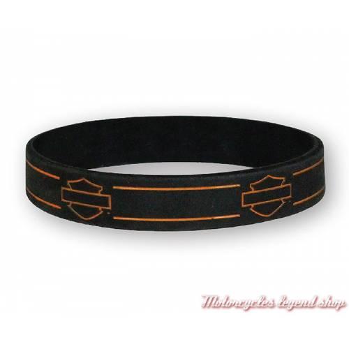 Bracelet silicone Bar & Shield Harley-Davidson, noir, orange, WB114464