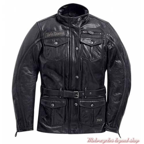 Veste 3/4 cuir Richards Harley-Davidson femme, noir, homologué CE, 97187-18EW