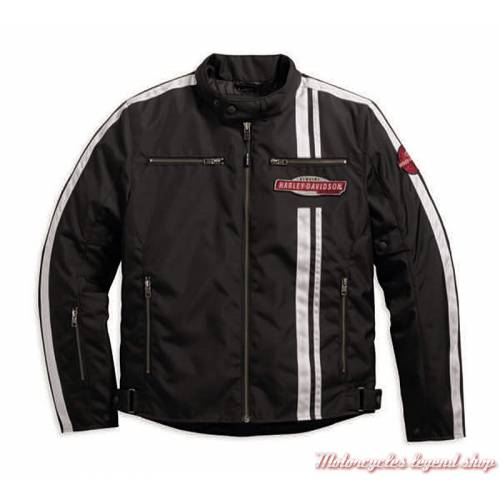 Blouson textile Genuine Harley-Davidson homme, noir, polyester, homologué CE, 97215-17EM