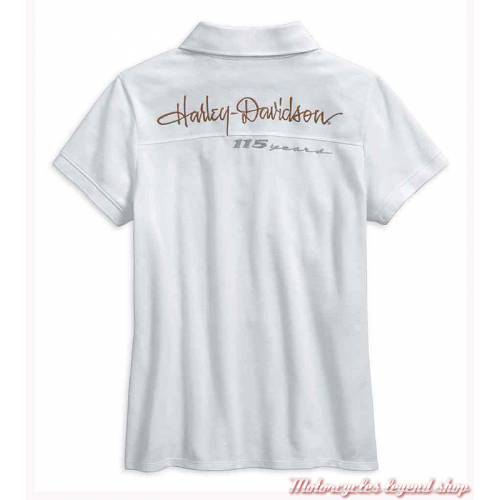 Polo 115th Anniversary Harley-Davidson femme, blanc, coton, polyester, manches courtes, 99043-18VW
