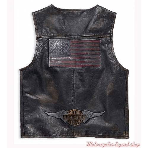 Gilet cuir Iron Harley-Davidson homme, léger, noir vieilli, vintage, 98009-18VM