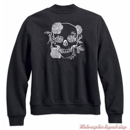 Sweat Skull & Rose Black Label Harley-Davidson, femme, style teddy, noir, 96099-18VW
