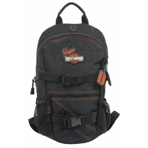 Sac à dos H-D Genuine, nylon, noir, surpiqures orange, Harley-Davidson RL7290S-ORGBLK