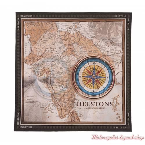 Foulard Africa Helstons, mixte, polyester, 65 x 65 cm, marron, imprimé carte ancienne, 20170036