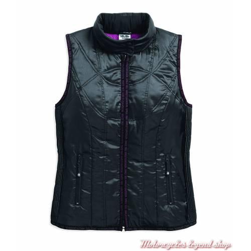 Doudoune sans manche Harley-Davidson femme, zippée, matelassé, noir, violet, 97451-18VW
