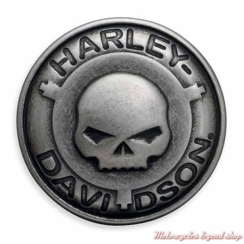 Boucle de ceinture Skull Willie G.Harley-Davidson homme, ronde, métal zingué antique, 97787-18VM