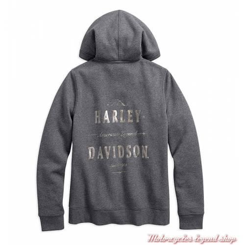 Sweatshirt zippé à capuche sherpa femme Harley-Davidson, gris, imprimé métallisé, coton et polyester 96041-18VW