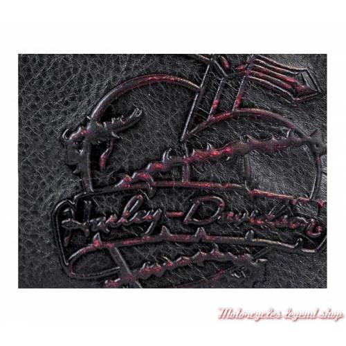 Sac à main cuir femme Harley-Davidson, grainé noir patiné rouge, rivets, charms, DG9203L-REDBLK