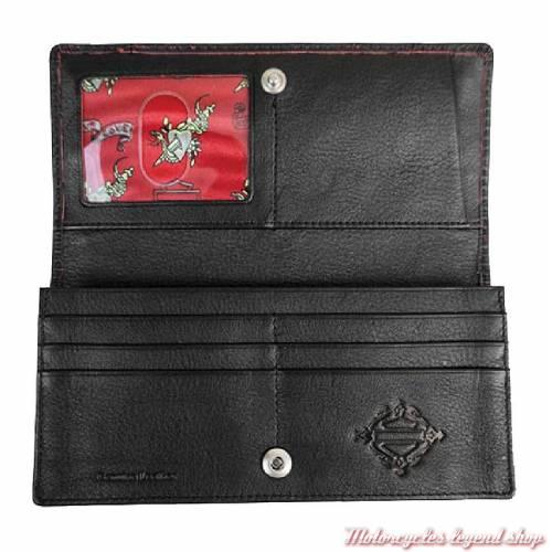 Portefeuille cuir femme Harley-Davidson grainé noir patiné rouge, rivets, DG9258L-REDBLK intérieur