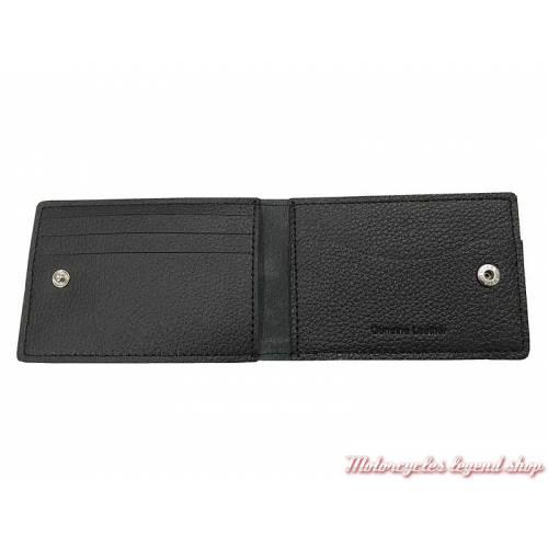 Porte cartes Number One black Harley-Davidson, cuir noir grainé, XML3863-BLACK intérieur