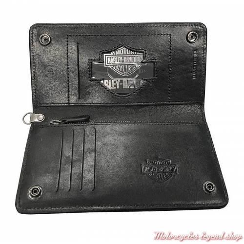 Portefeuille cuir Biker Harley-Davidson homme, noir, long, chaine, mousqueton, HDMWA11388 intérieur