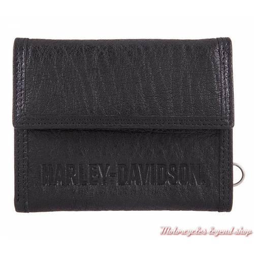 Portefeuille cuir Asphalt homme Harley-Davidson, noir, HDMWA11379
