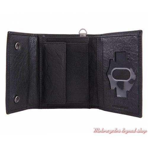 Portefeuille cuir Asphalt homme Harley-Davidson, noir, HDMWA11379 intérieur