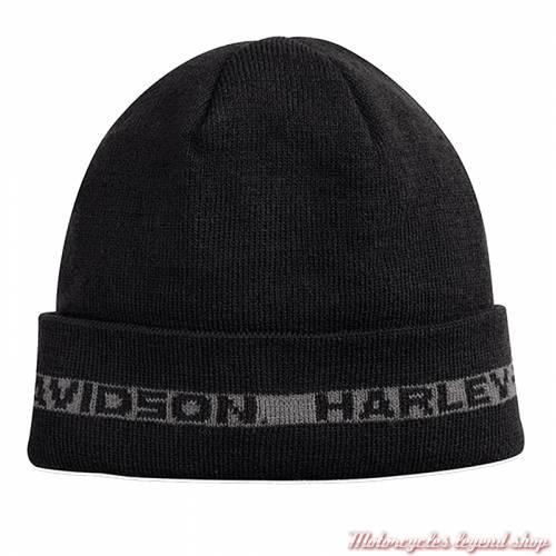 Bonnet polaire Harley-Davidson homme, noir, gris, acrylique, 97812-18VM
