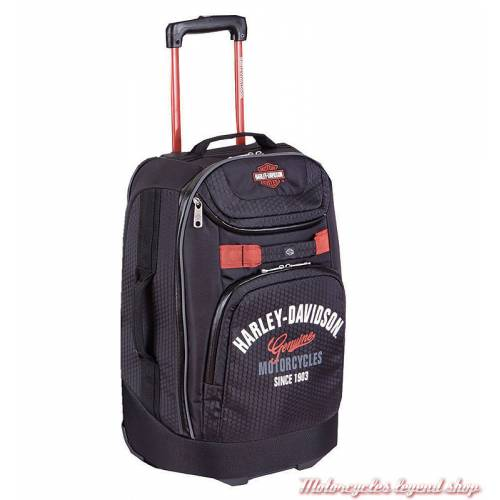 Valise cabine Casual Harley-Davidson à roulettes, noire, polyester, 99820