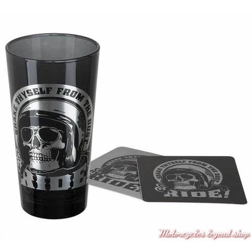 Verre Skull Rider Harley-Davidson, 50 cl, verre noir translucide, 2 dessous de verre, HDL-18781