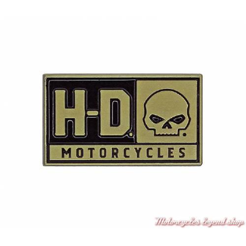 Pin's H-D Skull Harley-Davidson, métal doré, P043262