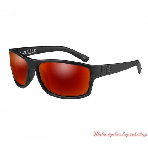 Lunettes solaire Slick Harley-Davidson, noir mat, verres rouge, HASLK11