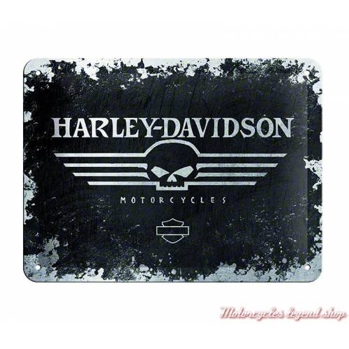 Plaque métal Skull Harley-Davidson, 15 x 20 cm, 26116