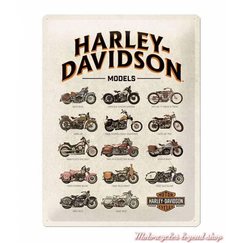 Plaque métal H-D Models Harley-Davidson, motos rétro, 30 x 40 cm, 23233