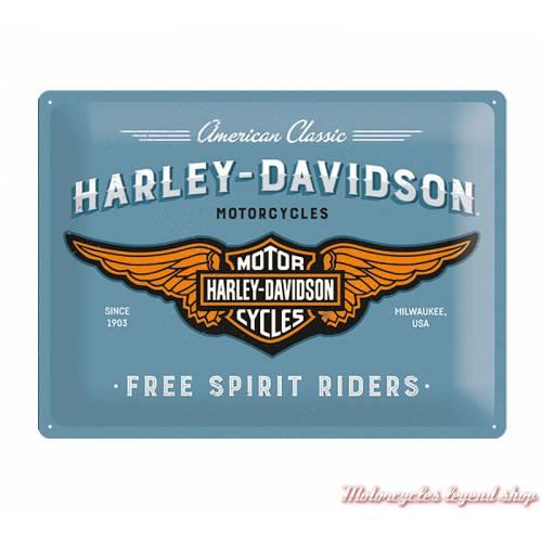 Plaque métal Free Spirit Riders Harley-Davidson, bleu vintage, 30 x 40 cm, 23244