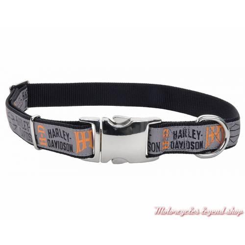 Collier pour chien nylon Harley-Davidson, noir, gris, longueur ajustable, H6971-H-HLG