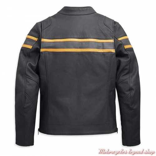 Blouson cuir Sidari Harley-Davidson homme, noir, bandes jaunes, homologué CE, dos, 98007-20EM