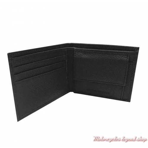 Portefeuille Bar & Shield Harley-Davidson, cuir noir grainé, 2 volets, intérieur, MSB8361-BLACK