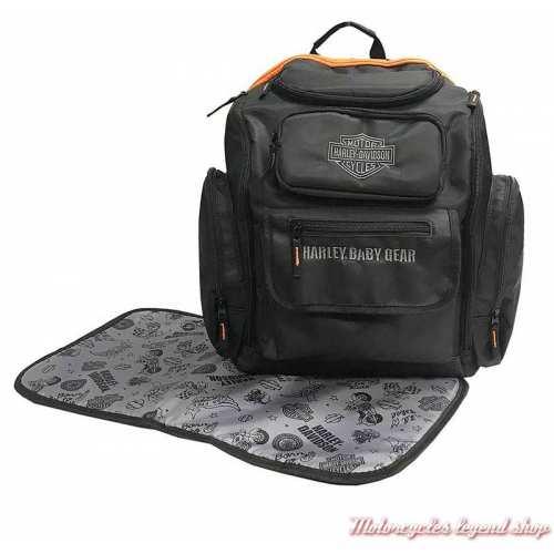 Sac à dos pour langer bébé Harley-Davidson, noir, nylon, 7150877