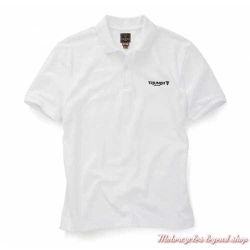 Polo Cumbria homme Triumph, blanc, manches courtes, coton, MPOS20000