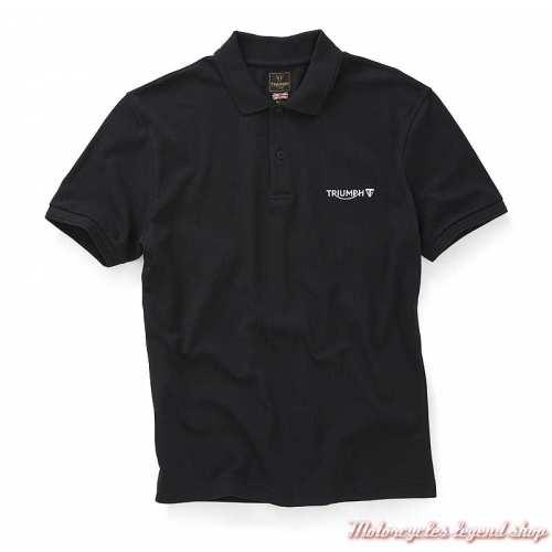 Polo Cumbria noir homme Triumph, manches courtes, coton, MPOS20001