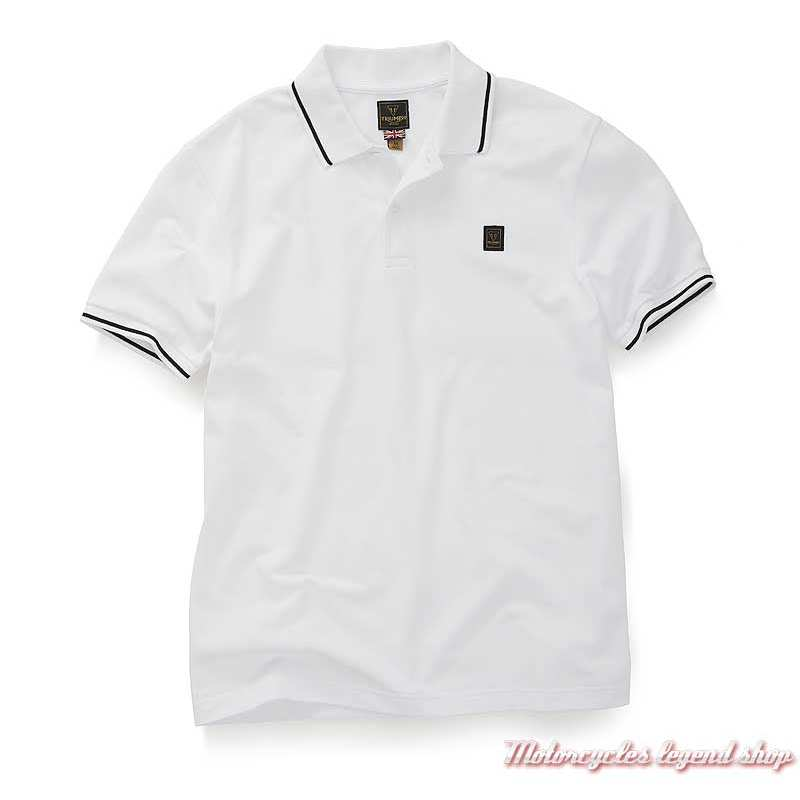 Polo Lustleigh blanc homme Triumph, manches courtes, coton, MPOS20002
