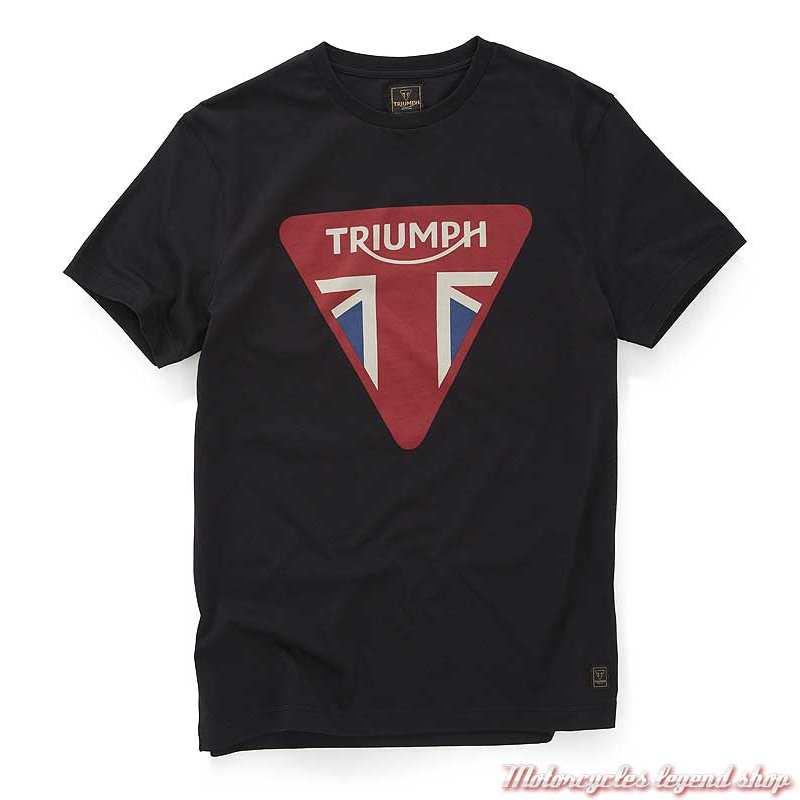 Tee-shirt Devon homme Triumph, noir, logo anglais, manches courtes, coton, MTSS20023