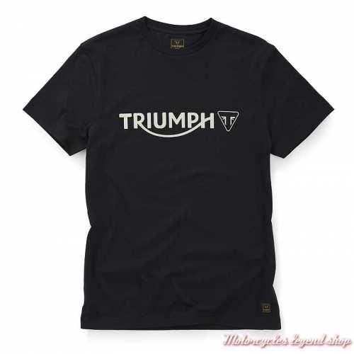 Tee-shirt Cartmel noir homme Triumph, manches courtes, coton, MTSS20036