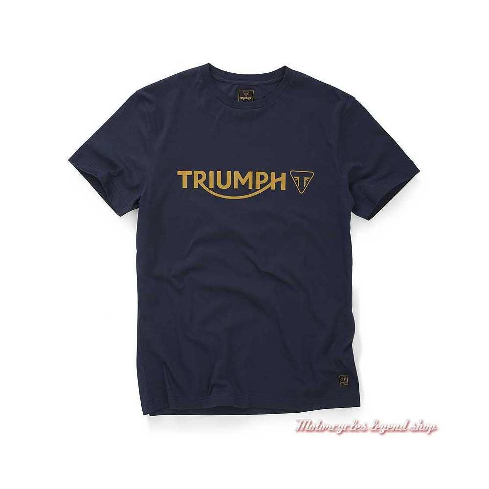 Tee-shirt Cartmel Black Iris homme Triumph, navy, manches courtes, coton, MTSS20039