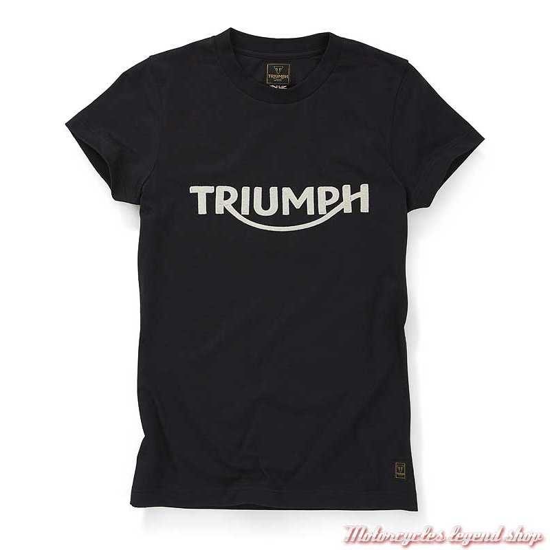 Tee-shirt Gwynedd noir femme Triumph, brodé, manches courtes, coton, MTSS20051