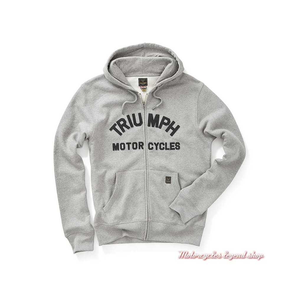 Sweatshirt Lavenham grey homme Triumph, zippé, à capuche, gris clair, coton, MSWS20003
