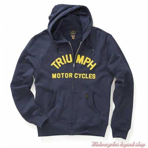 Sweatshirt Lavenham black iris homme Triumph, zippé, capuche, navy, coton, MSWS20004