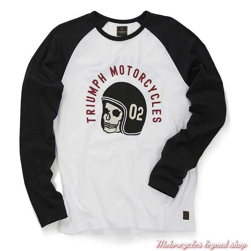 Tee-shirt Hambledon homme Triumph, manches longues raglan, noir, blanc, skull, coton, MTLS20019