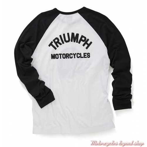 Tee-shirt Hambledon homme Triumph, manches longues raglan, noir, blanc, skull, coton, dos, MTLS20019