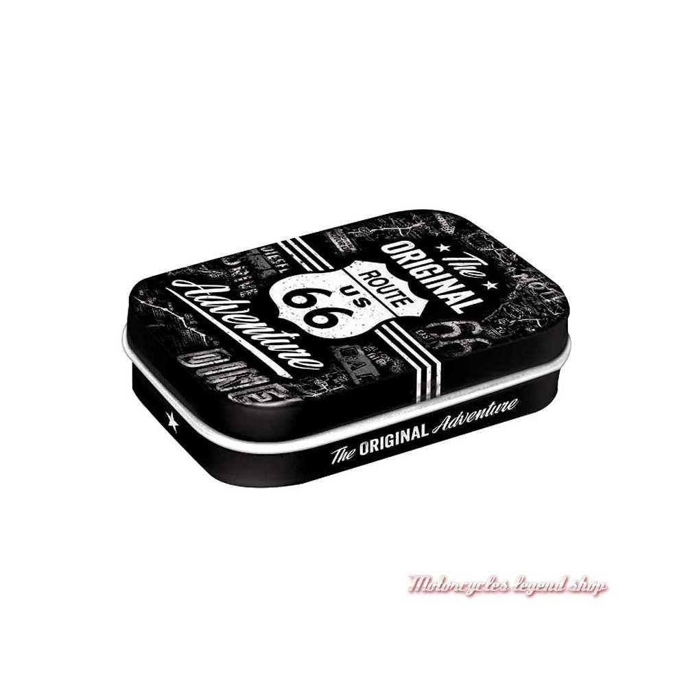 Boite de pastilles mentholées Route 66 vintage, noir et blanc, Nostalgic Art 81335
