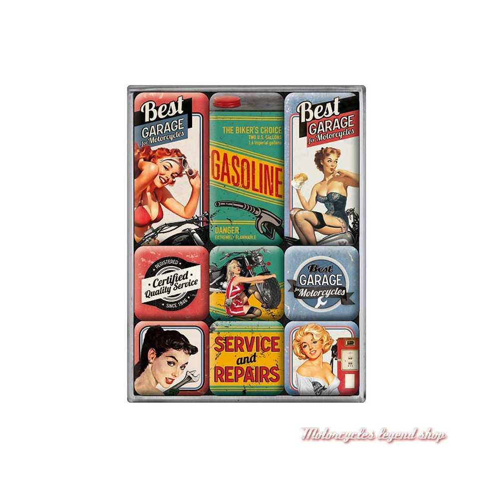 Magnets x 9 Best Garage, Pin'up, vintage, Nostalgic Art 83050