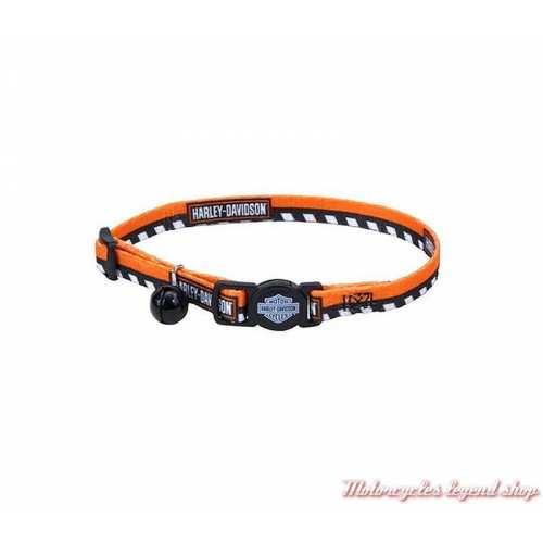 Collier pour chat Harley-Davidson, nylon, ajustable, orange, noir, H6701-H-HOC12