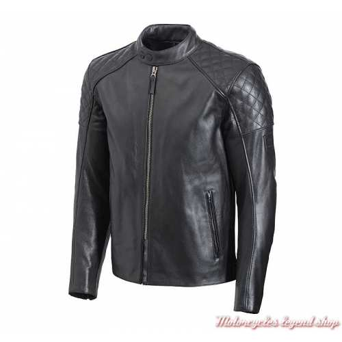 Blouson cuir Braddan Triumph homme, noir, matelassé, MLHS20111