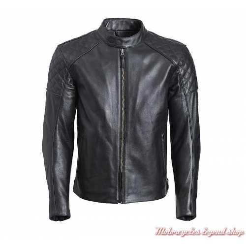 Blouson cuir Braddan Triumph homme, noir, matelassé, face, MLHS20111
