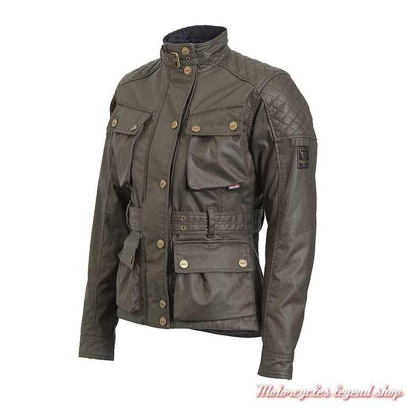 Veste textile Beck Triumph femme, kaki, coton waxé, style Barbour, MLTS20124